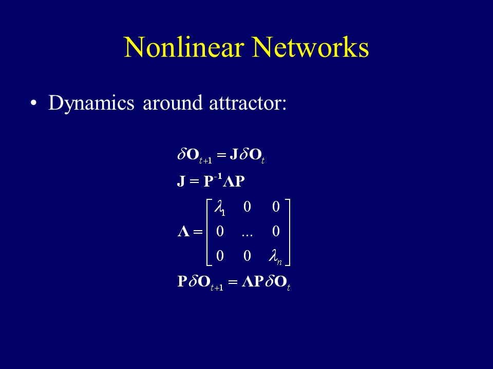 Nonlinear Networks Dynamics around attractor:
