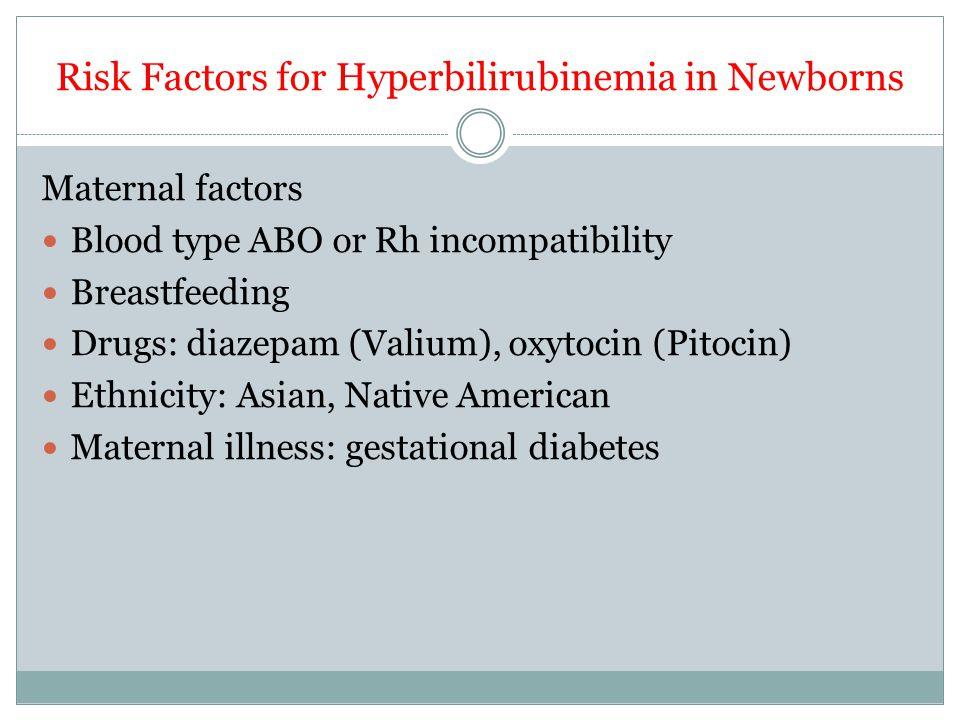 Risk Factors for Hyperbilirubinemia in Newborns Maternal factors Blood type ABO or Rh incompatibility Breastfeeding Drugs: diazepam (Valium), oxytocin (Pitocin) Ethnicity: Asian, Native American Maternal illness: gestational diabetes