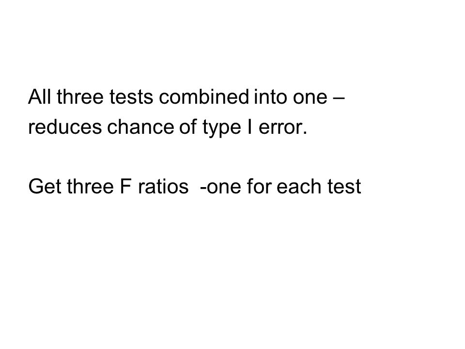 All three tests combined into one – reduces chance of type I error.