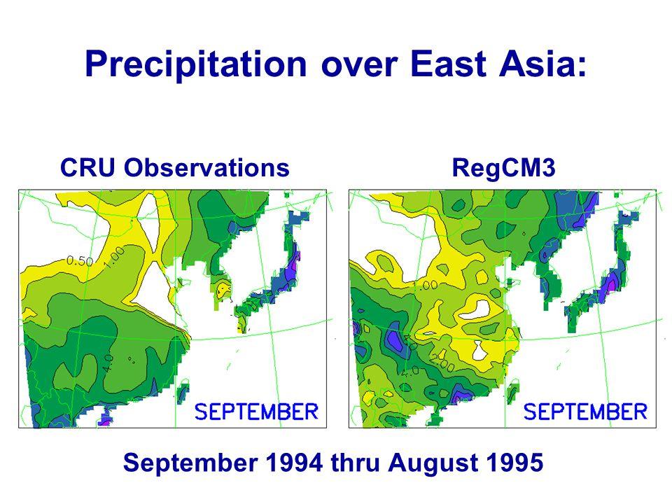 Precipitation over East Asia: CRU ObservationsRegCM3 September 1994 thru August 1995