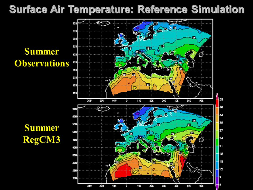 Surface Air Temperature: Reference Simulation Summer RegCM3 Summer Observations