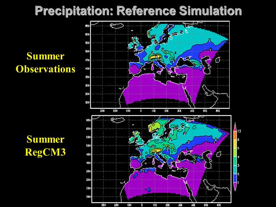 Precipitation: Reference Simulation Summer RegCM3 Summer Observations