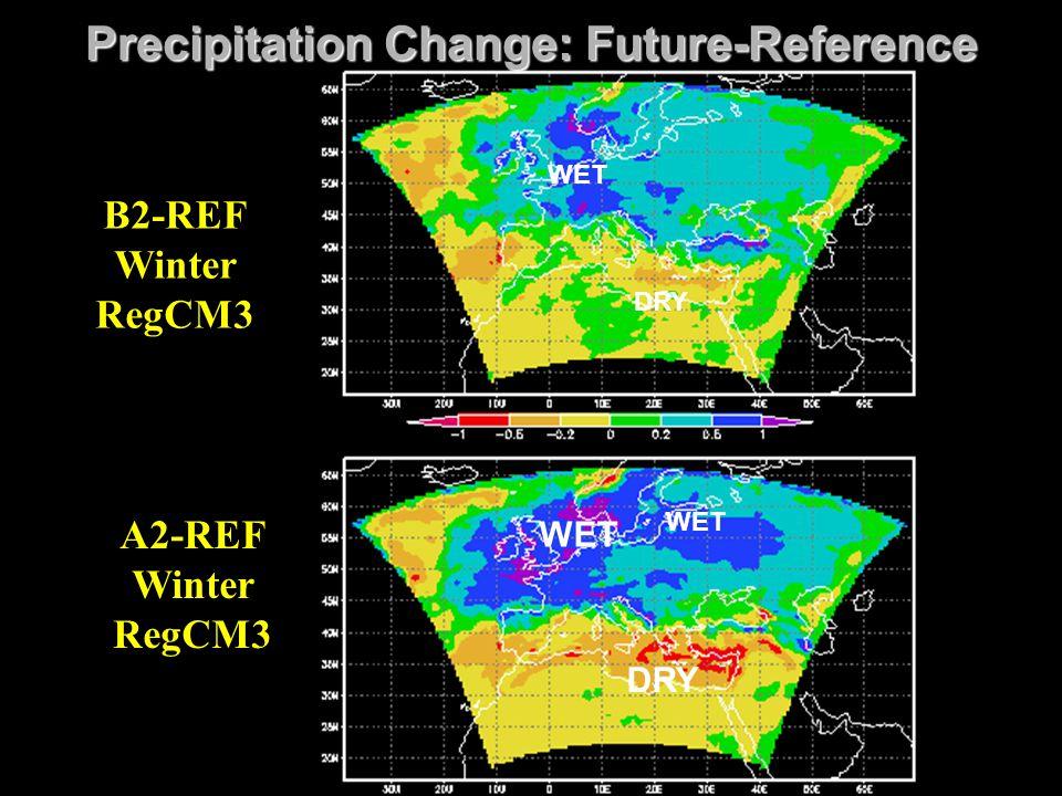 Precipitation Change: Future-Reference WET A2-REF Winter RegCM3 B2-REF Winter RegCM3 DRY