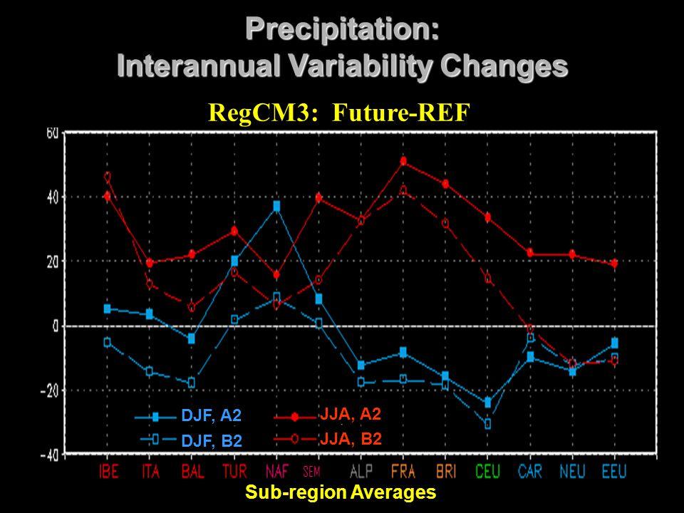 Sub-region Averages Precipitation: Interannual Variability Changes RegCM3: Future-REF DJF, A2 DJF, B2 JJA, A2 JJA, B2 SEM