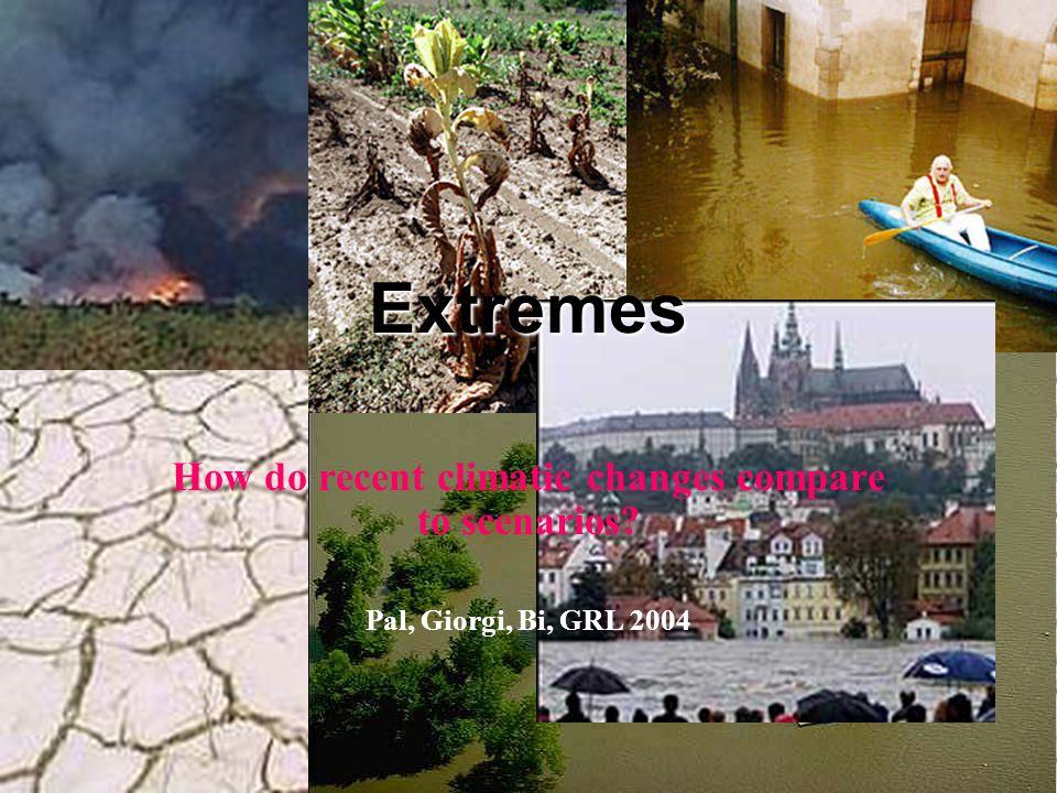 Extremes How do recent climatic changes compare to scenarios? Pal, Giorgi, Bi, GRL 2004