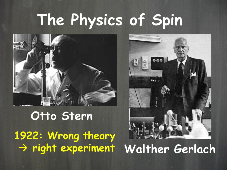 The Physics of Spin Otto Stern Walther Gerlach 1922: Wrong theory  right experiment