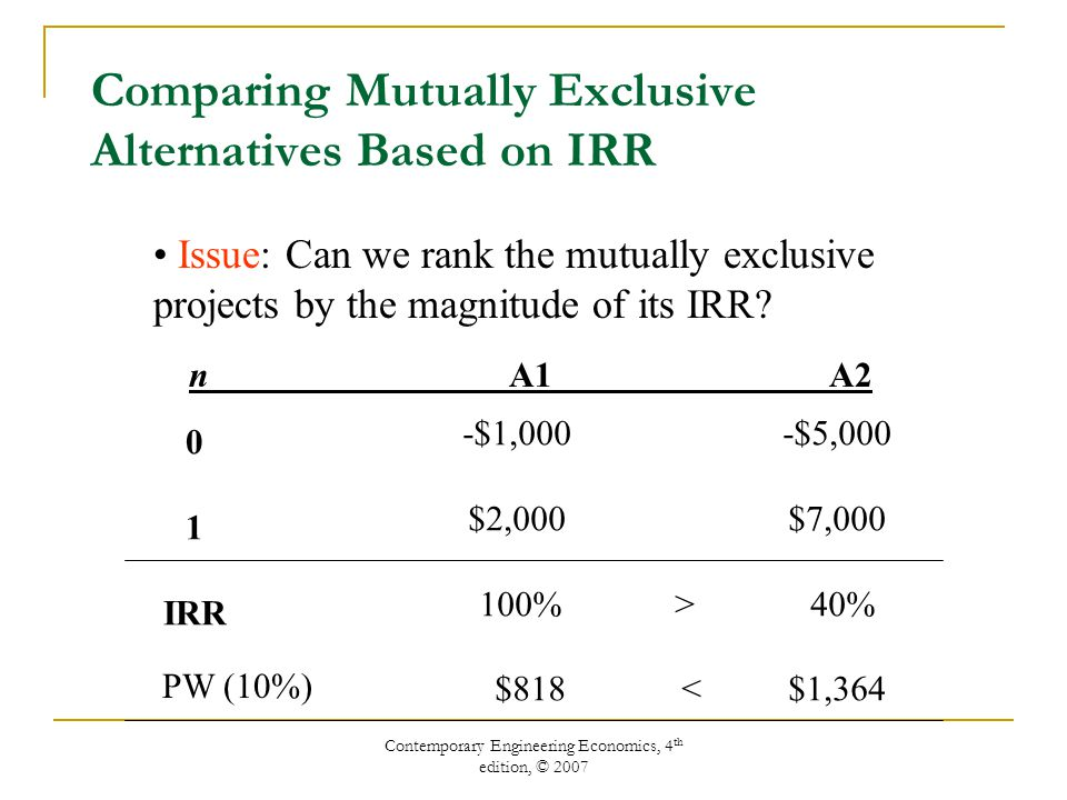 Contemporary Engineering Economics, 4 th edition, © 2007 Comparing Mutually Exclusive Alternatives Based on IRR Issue: Can we rank the mutually exclusive projects by the magnitude of its IRR.