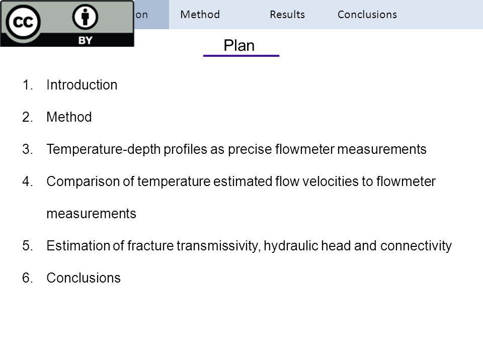 Introduction Method Results Conclusions 1.Introduction 2.Method 3.Temperature-depth profiles as precise flowmeter measurements 4.Comparison of tempera