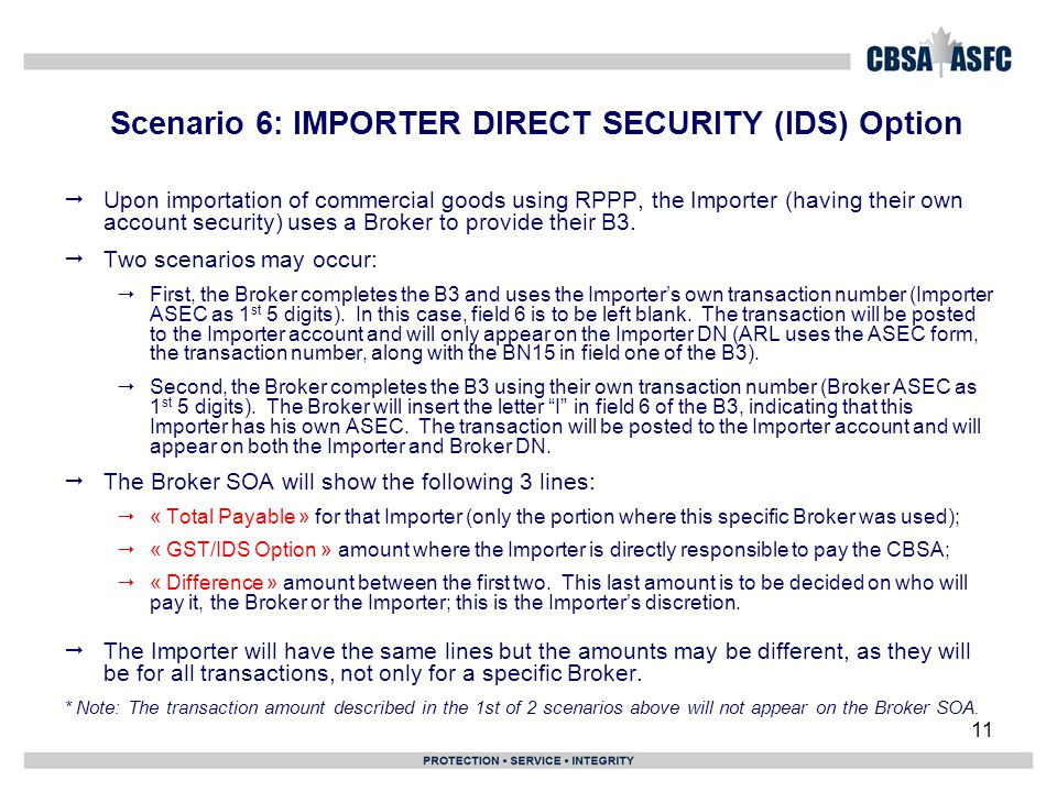 11 Scenario 6: IMPORTER DIRECT SECURITY (IDS) Option  Upon importation of commercial goods using RPPP, the Importer (having their own account securit