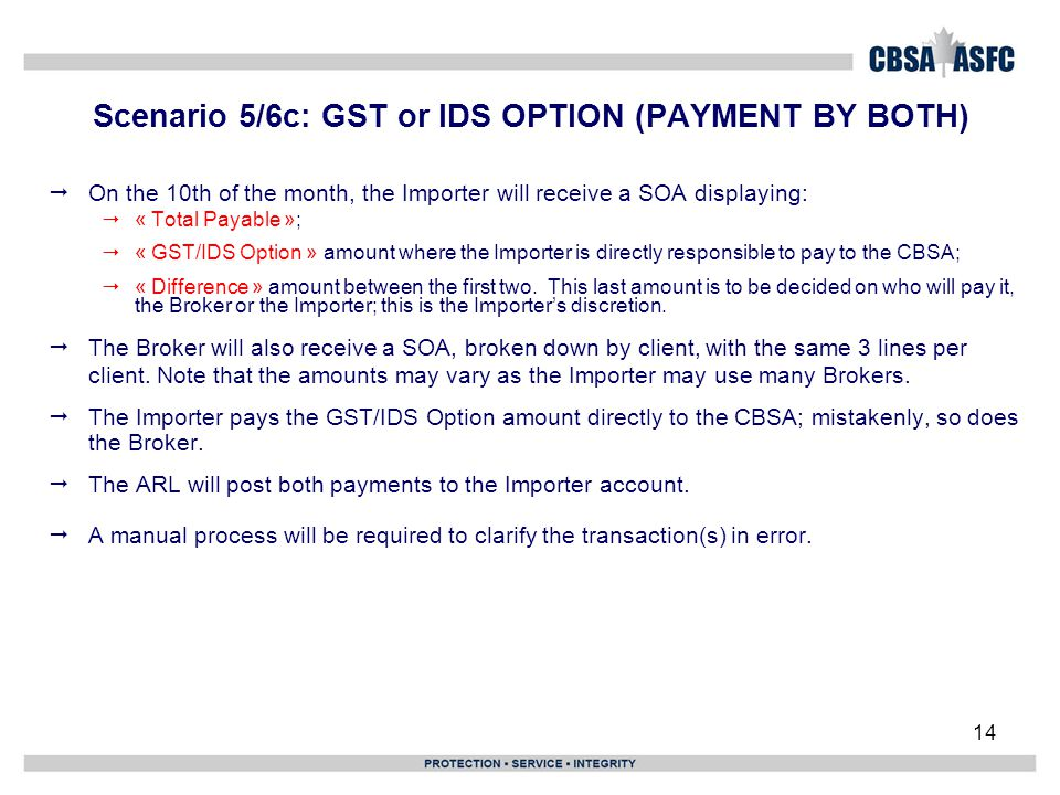 14 Scenario 5/6c: GST or IDS OPTION (PAYMENT BY BOTH)  On the 10th of the month, the Importer will receive a SOA displaying:  « Total Payable »;  «