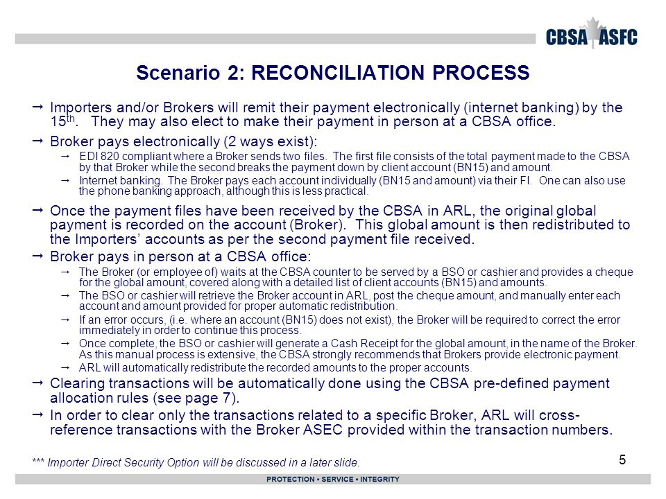 5 Scenario 2: RECONCILIATION PROCESS  Importers and/or Brokers will remit their payment electronically (internet banking) by the 15 th.