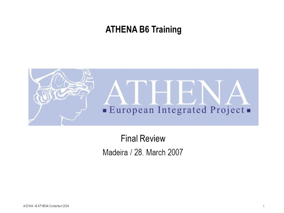 1 AIDIMA / © ATHENA Consortium 2004 Final Review Madeira / 28. March 2007 ATHENA B6 Training