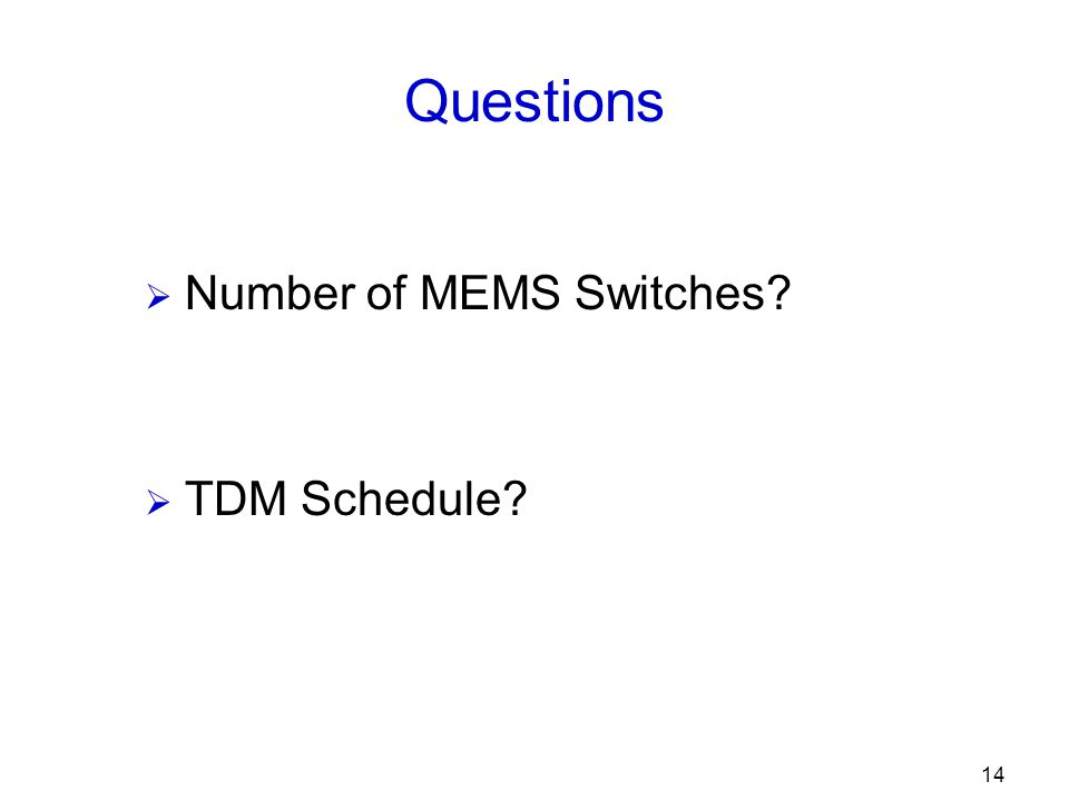 14 Questions  Number of MEMS Switches  TDM Schedule