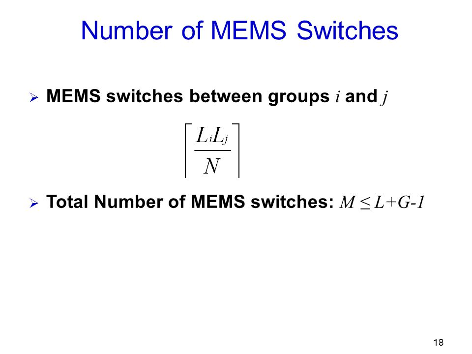 18 Number of MEMS Switches  MEMS switches between groups i and j  Total Number of MEMS switches: M ≤ L+G-1