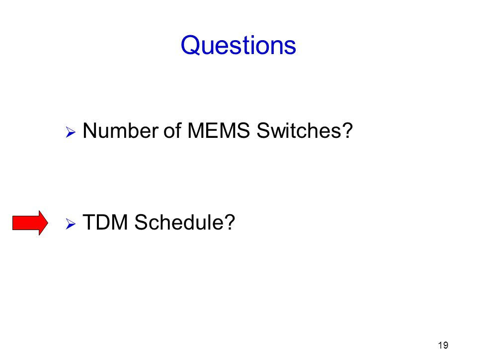 19 Questions  Number of MEMS Switches  TDM Schedule