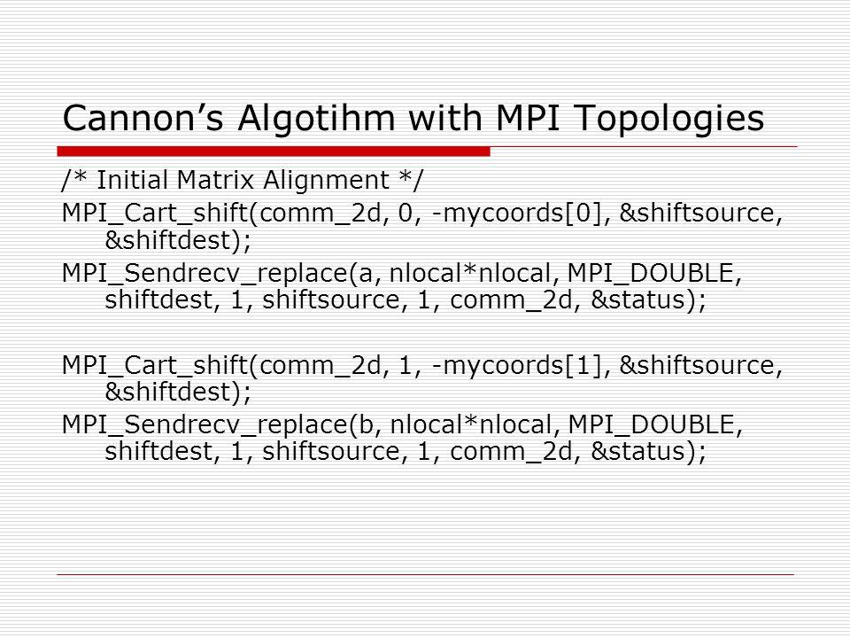 Cannon's Algotihm with MPI Topologies /* Initial Matrix Alignment */ MPI_Cart_shift(comm_2d, 0, -mycoords[0], &shiftsource, &shiftdest); MPI_Sendrecv_