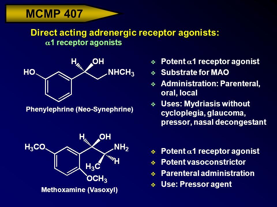 MCMP 407 Direct acting adrenergic receptor agonists:  1 receptor agonists  Potent  1 receptor agonist v Substrate for MAO v Administration: Parente