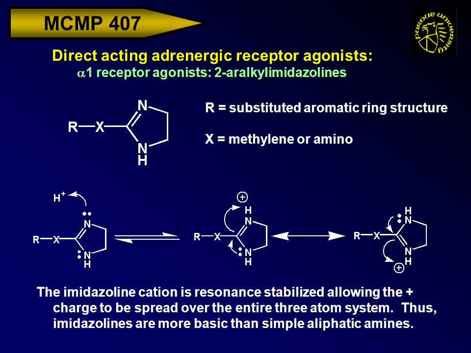 MCMP 407 Direct acting adrenergic receptor agonists:  1 receptor agonists: 2-aralkylimidazolines R = substituted aromatic ring structure X = methylen