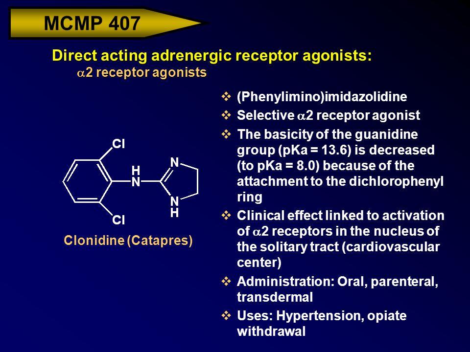 MCMP 407 Direct acting adrenergic receptor agonists:  2 receptor agonists v(Phenylimino)imidazolidine  Selective  2 receptor agonist vThe basicity