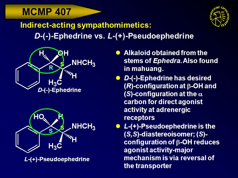 MCMP 407 Indirect-acting sympathomimetics: D-(-)-Ephedrine vs. L-(+)-Pseudoephedrine D-(-)-Ephedrine L-(+)-Pseudoephedrine S S S R lAlkaloid obtained