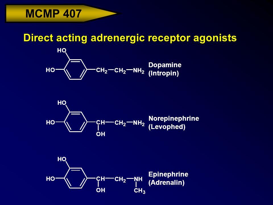 MCMP 407 Direct acting adrenergic receptor agonists HO HOCH OH CH 2 NH CH 3 HO HOCH OH CH 2 NH 2 HO HOCH 2 CH 2 NH 2 Dopamine (Intropin) Norepinephrin