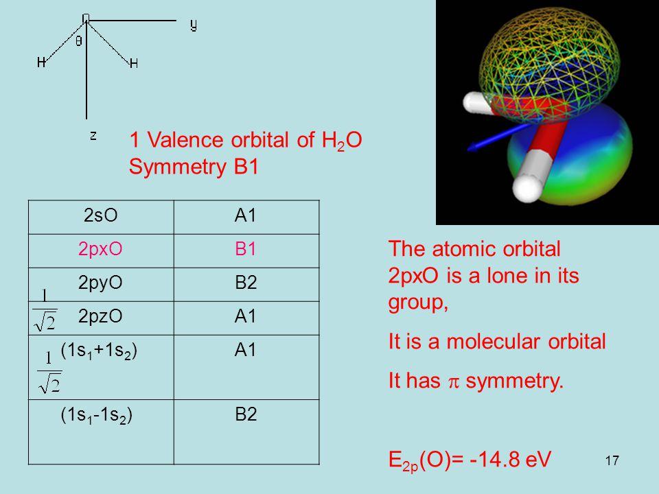 17 1 Valence orbital of H 2 O Symmetry B1 2sOA1 2pxOB1 2pyOB2 2pzOA1 (1s 1 +1s 2 )A1 (1s 1 -1s 2 )B2 The atomic orbital 2pxO is a lone in its group, It is a molecular orbital It has  symmetry.