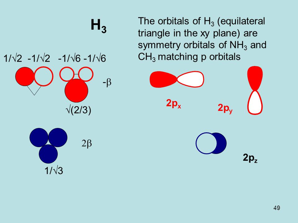 49 H3H3 --  The orbitals of H 3 (equilateral triangle in the xy plane) are symmetry orbitals of NH 3 and CH 3 matching p orbitals 1/√3 1/√2 √(2/3)