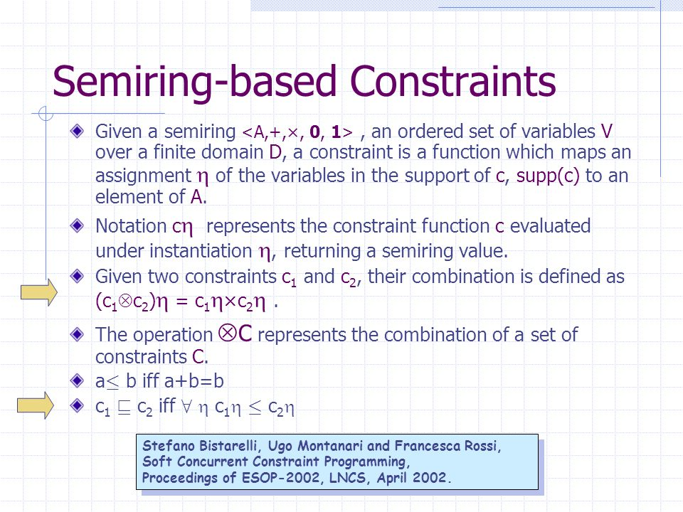 Semiring-based Constraints Given a semiring, an ordered set of variables V over a finite domain D, a constraint is a function which maps an assignment  of the variables in the support of c, supp(c) to an element of A.