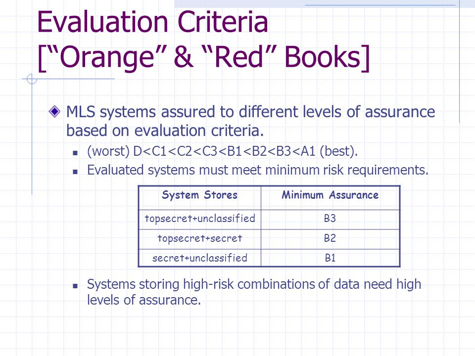 """Evaluation Criteria [""""Orange"""" & """"Red"""" Books] MLS systems assured to different levels of assurance based on evaluation criteria. (worst) D<C1<C2<C3<B1<"""