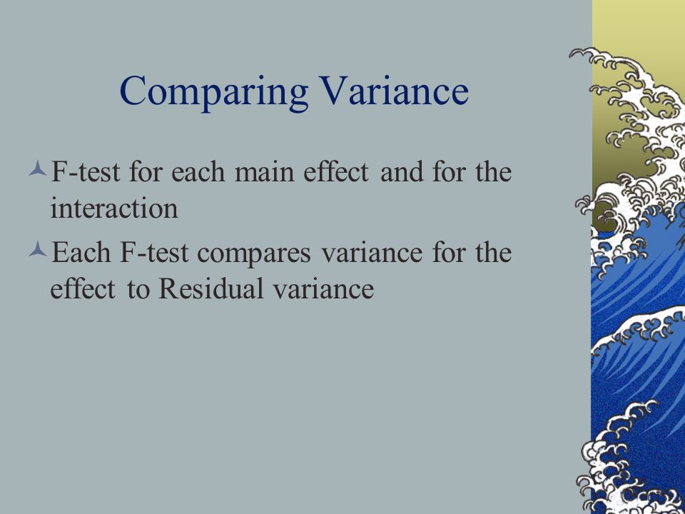 ANALYZING THE VARIANCE Total Variance = Model + Residual Model Variance is further divided into: Factor A Factor B A x B interaction