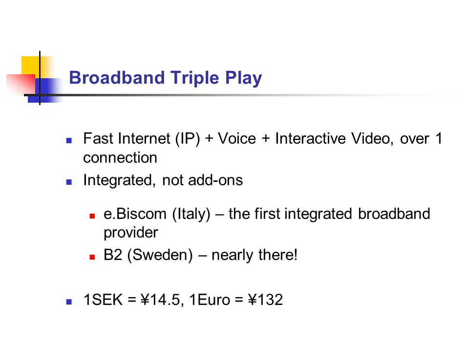 Broadband Triple Play Fast Internet (IP) + Voice + Interactive Video, over 1 connection Integrated, not add-ons e.Biscom (Italy) – the first integrated broadband provider B2 (Sweden) – nearly there.