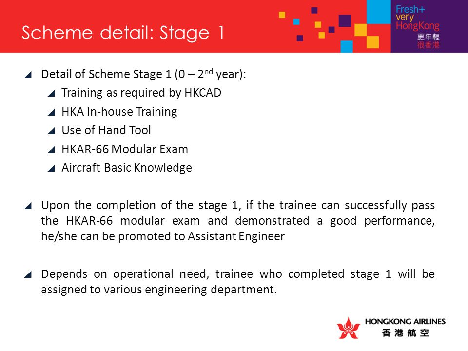  Detail of Scheme Stage 1 (0 – 2 nd year):  Training as required by HKCAD  HKA In-house Training  Use of Hand Tool  HKAR-66 Modular Exam  Aircra