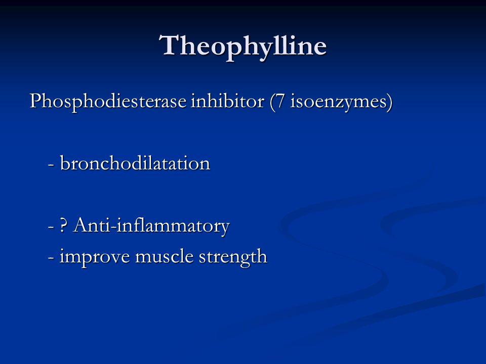 Theophylline Phosphodiesterase inhibitor (7 isoenzymes) - bronchodilatation - .