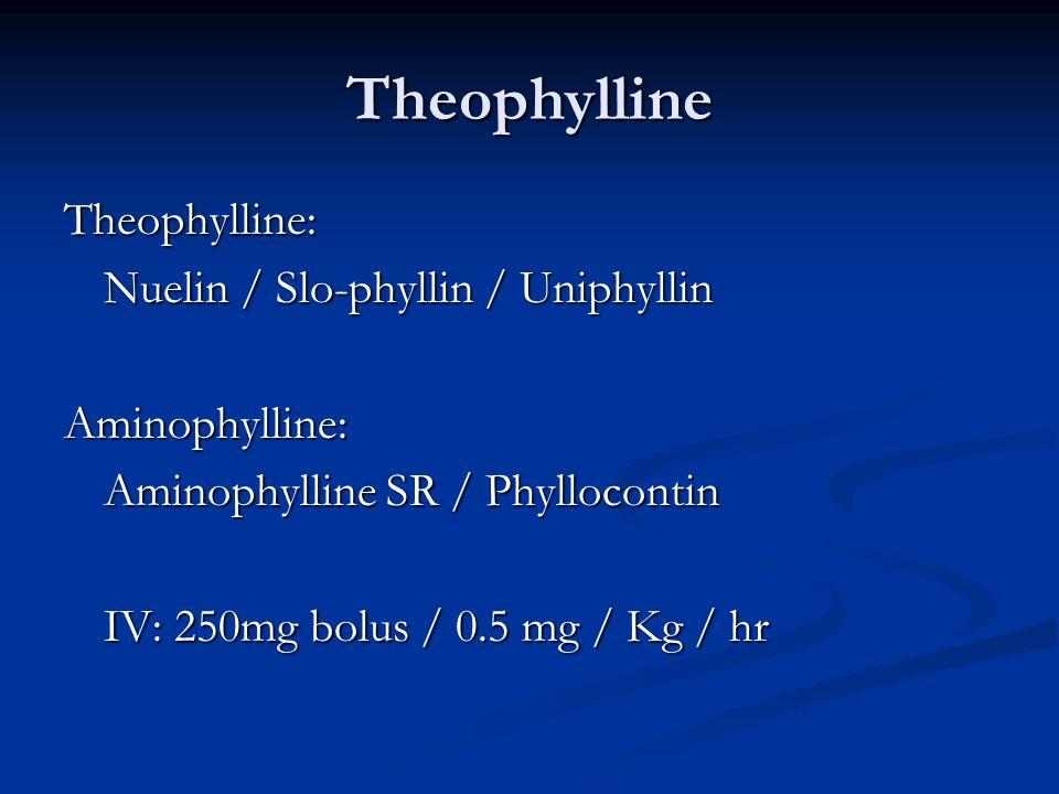 Theophylline Theophylline: Nuelin / Slo-phyllin / Uniphyllin Aminophylline: Aminophylline SR / Phyllocontin IV: 250mg bolus / 0.5 mg / Kg / hr