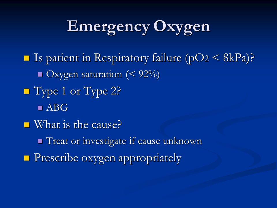 Emergency Oxygen Is patient in Respiratory failure (pO 2 < 8kPa).