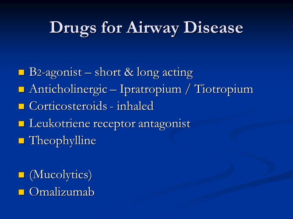 Drugs for Airway Disease B 2 -agonist – short & long acting B 2 -agonist – short & long acting Anticholinergic – Ipratropium / Tiotropium Anticholinergic – Ipratropium / Tiotropium Corticosteroids - inhaled Corticosteroids - inhaled Leukotriene receptor antagonist Leukotriene receptor antagonist Theophylline Theophylline (Mucolytics) (Mucolytics) Omalizumab Omalizumab