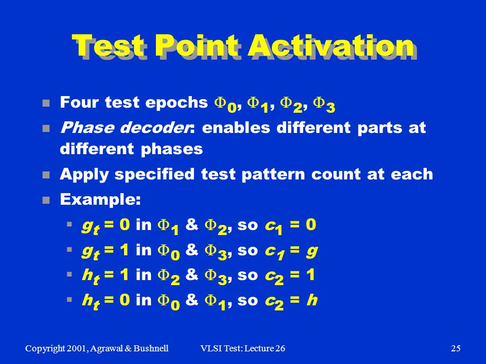 Copyright 2001, Agrawal & BushnellVLSI Test: Lecture 2625 Test Point Activation Four test epochs  0,  1,  2,  3 n Phase decoder: enables different parts at different phases n Apply specified test pattern count at each n Example:  g t = 0 in  1 &  2, so c 1 = 0  g t = 1 in  0 &  3, so c 1 = g  h t = 1 in  2 &  3, so c 2 = 1  h t = 0 in  0 &  1, so c 2 = h