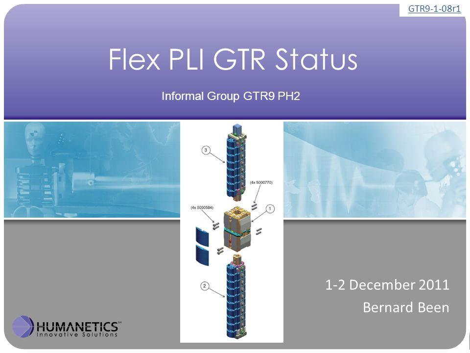 Flex PLI GTR Status 1-2 December 2011 Bernard Been Informal Group GTR9 PH2 GTR9-1-08r1