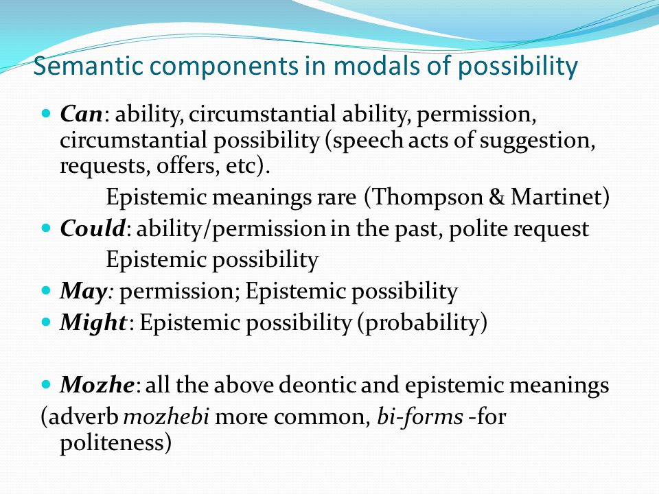 Semantic components in modals of possibility Can: ability, circumstantial ability, permission, circumstantial possibility (speech acts of suggestion,
