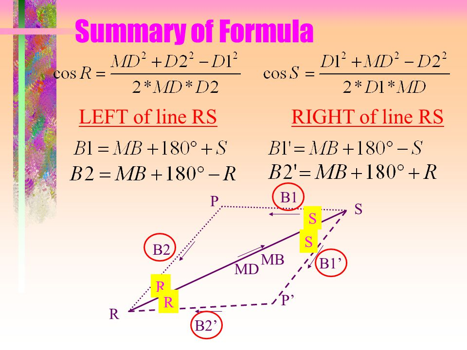 Summary of Formula R S P P' MB MD R R S S B1 B2 B1' B2' LEFT of line RSRIGHT of line RS