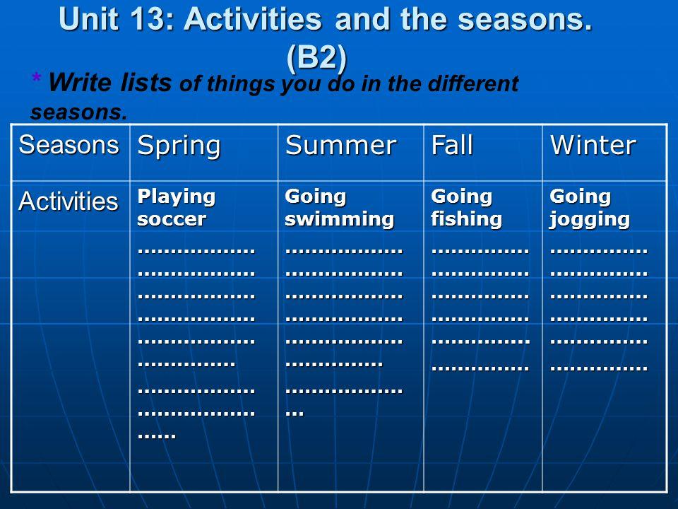 SeasonsSpringSummerFallWinter Activities Playing soccer ……………… ……………… ……………… ……………… ……………… …………… ……………… ……………… …… Going swimming ……………… ……………… ……………… ……………… ……………… …………… ……………… … Going fishing …………… …………… …………… …………… …………...