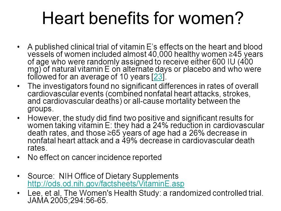Heart benefits for women.