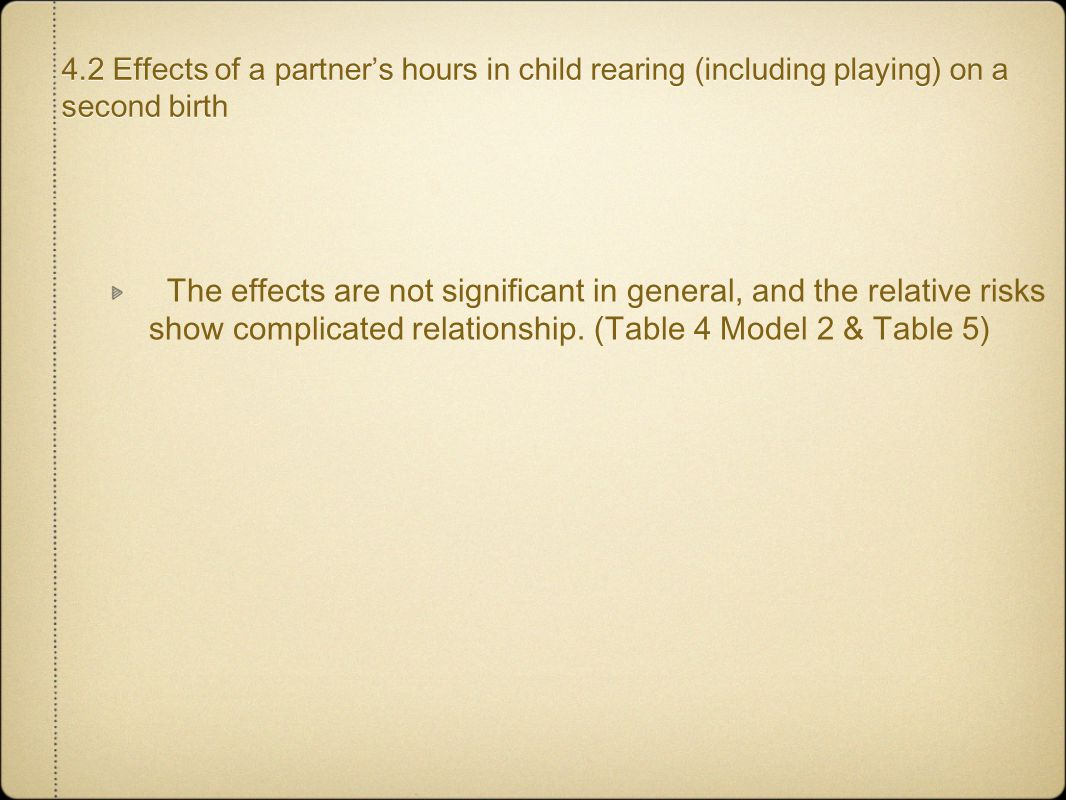 4.2 Effects of a partner's hours in child rearing (including playing) on a second birth The effects are not significant in general, and the relative r
