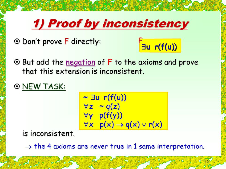 10 1) Proof by inconsistency  u r(f(u)) F  Don't prove F directly:  But add the negation of F to the axioms and prove that this extension is inconsistent.
