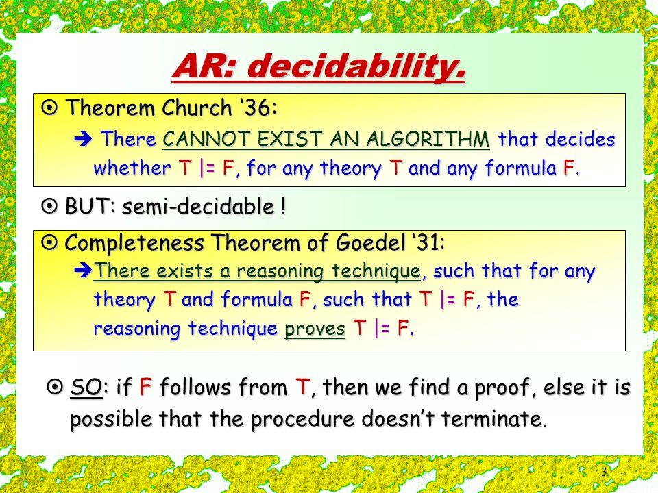 3 AR: decidability.
