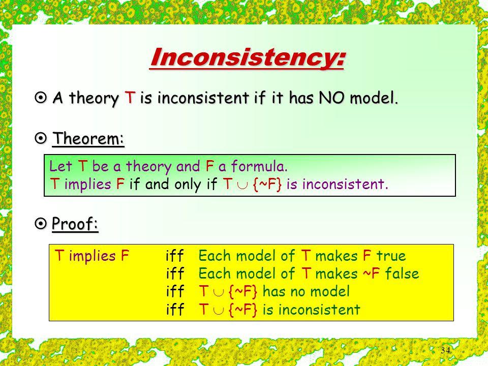 34 Inconsistency: T implies F iff Each model of T makes F true iff Each model of T makes ~F false iff T  {~F} has no model iff T  {~F} is inconsistent  A theory T is inconsistent if it has NO model.