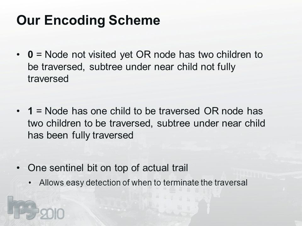 Our Encoding Scheme 0 = Node not visited yet OR node has two children to be traversed, subtree under near child not fully traversed 1 = Node has one child to be traversed OR node has two children to be traversed, subtree under near child has been fully traversed One sentinel bit on top of actual trail Allows easy detection of when to terminate the traversal