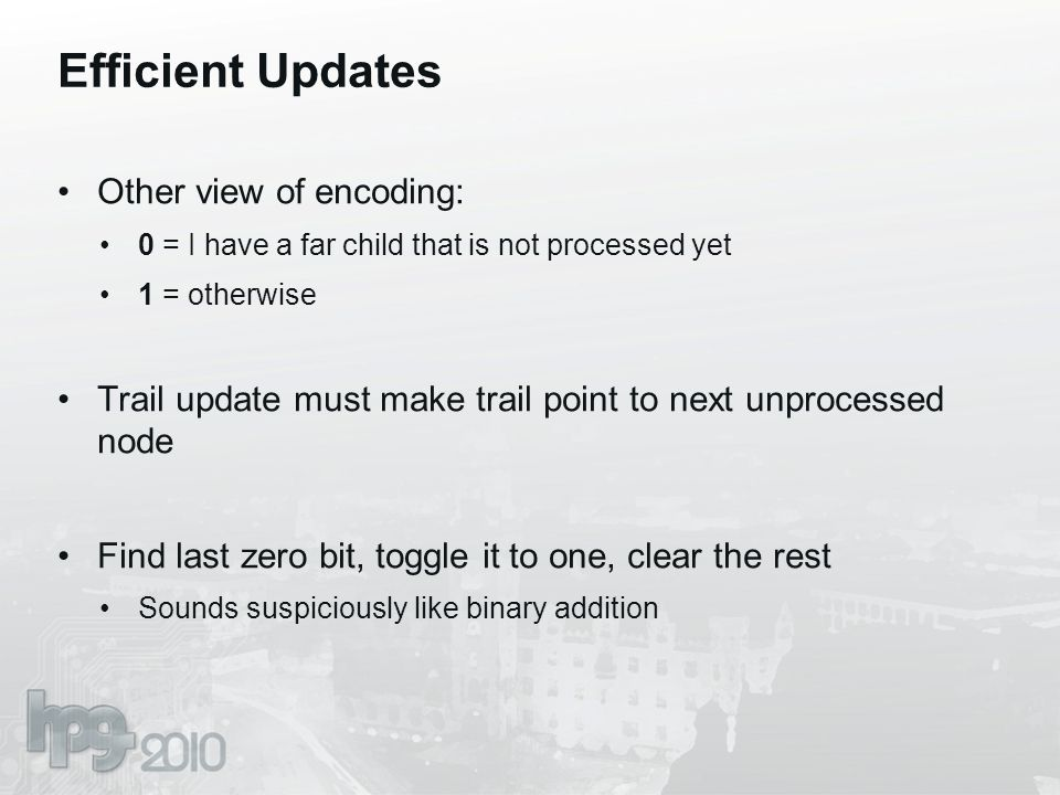 Efficient Updates Other view of encoding: 0 = I have a far child that is not processed yet 1 = otherwise Trail update must make trail point to next un