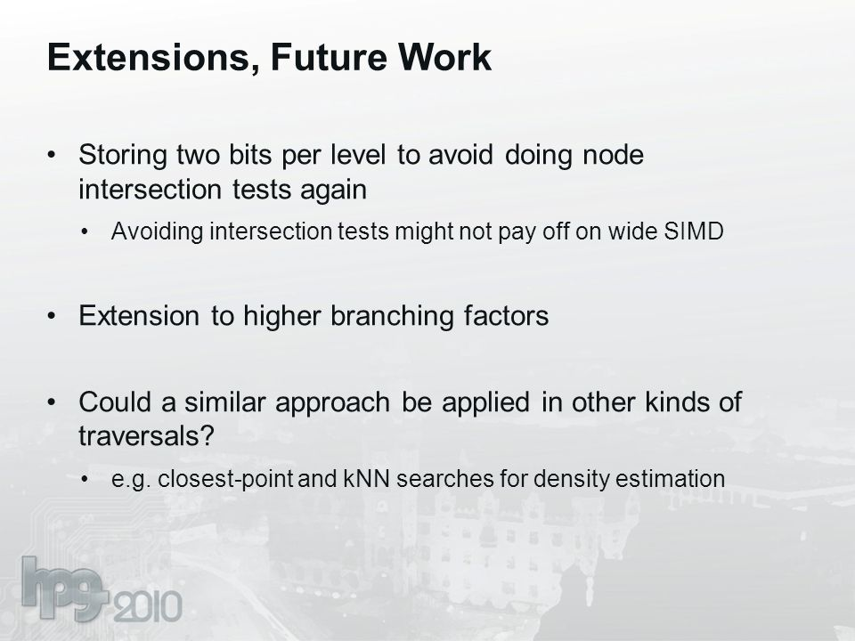 Extensions, Future Work Storing two bits per level to avoid doing node intersection tests again Avoiding intersection tests might not pay off on wide