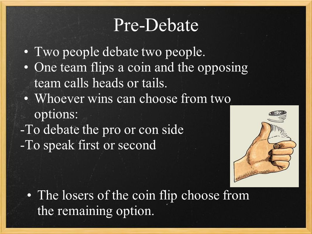 Pre-Debate Two people debate two people.